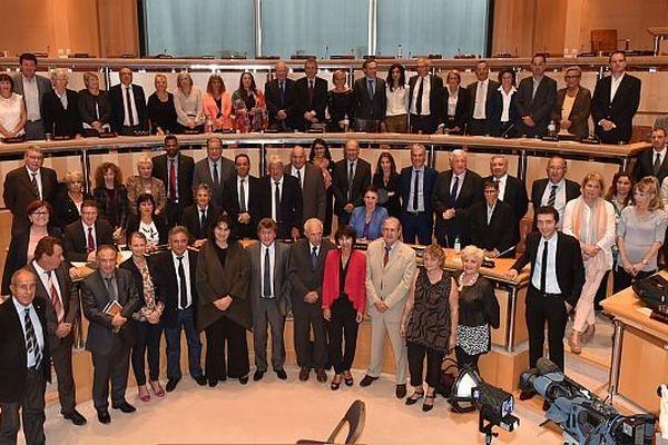 Montpellier - les élus et le nouvel exécutif du conseil régional du Languedoc-Roussillon - 29 septembre 2014.