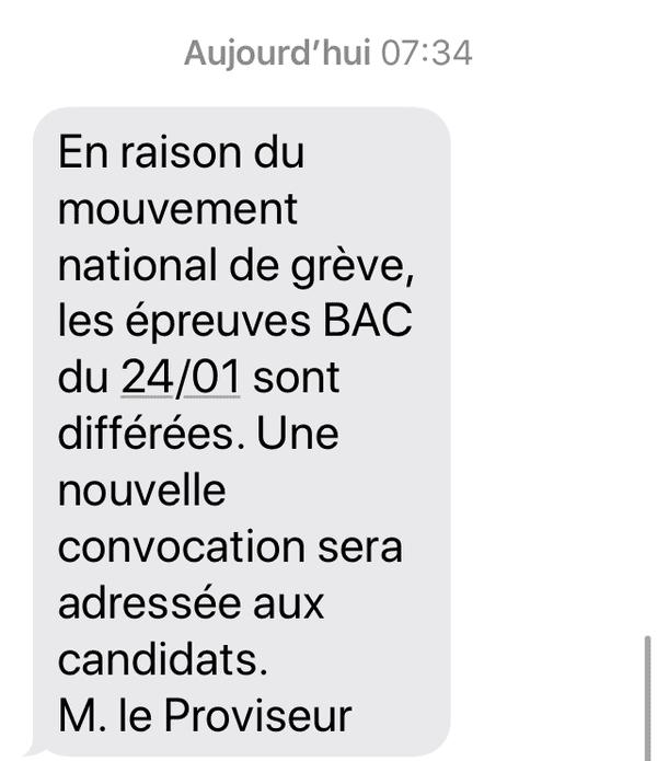 Le SMS reçu ce matin à 7h30 par les parents d'élèves du lycée Giocante à Bastia