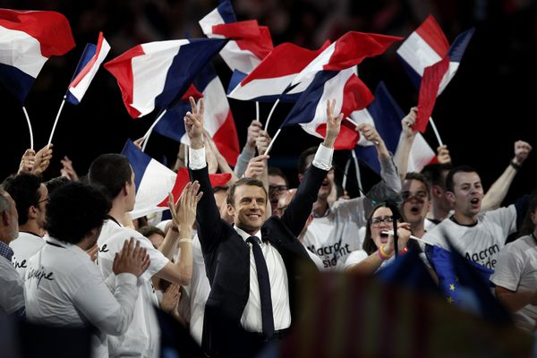 Emmanuel Macron en meeting, avril 2017
