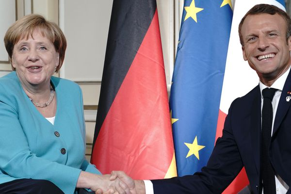 Angela Merkel et Emmanuel Macron lors du G7 à Biarritz, en août dernier.