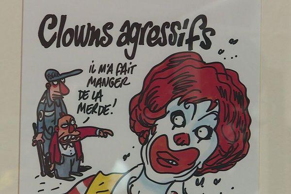 Un des 40 dessins originaux de Tignous, exposés à Rampoux.