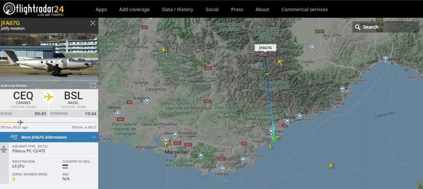 """L'un des trois avions """"Jetfly aviation"""" partis de Cannes ce lundi matin pour transporter des infirmières dans l'est de la France."""