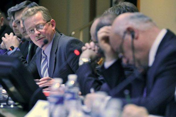 Daniel Lefèvre défendant la pêche bas-normande devant le commissaire européen Joe Borg en 2009.