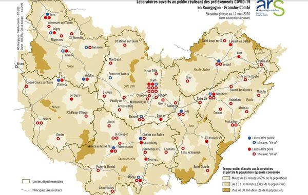 """Selon l'ARS, la région dispose """"d'un bon maillage territorial pour garantir l'accès aux tests""""."""