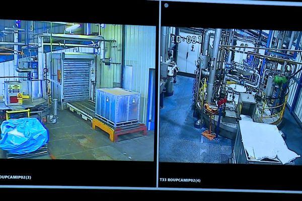 Images de vidéosurveillance du site de Lubrizol à Rouen (Seine-Maritime).