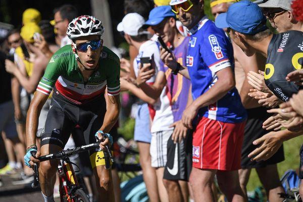 L'Italien Fabio Aru dans la montée de la Planche des Belles Filles, en juillet 2017.