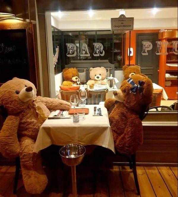 Un petit rendez-vous en tête à tête au restaurant pour M. et Mme Nounours...