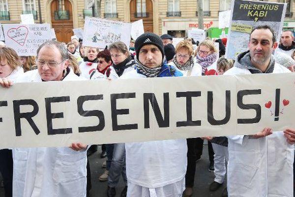 Manifestation des salaries de Fenwal à Paris en janvier 2015.