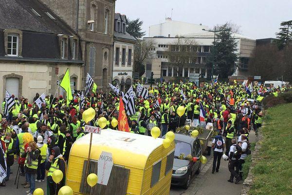 Les Gilets jaunes rassemblés à Pontivy pour l'acte XIV du mouvement