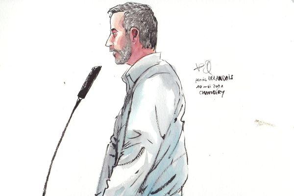 Nordahl Lelandais, lors de la sixième journée d'audience, lundi 10 mai, devant la cour d'assises de la Savoie, à Chambéry.