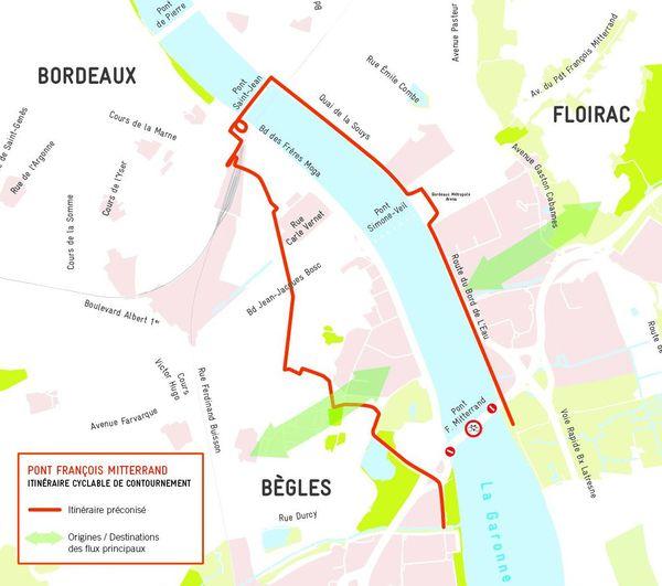 Itinéraire cyclable de contournement Pont François Mitterrand Bordeaux
