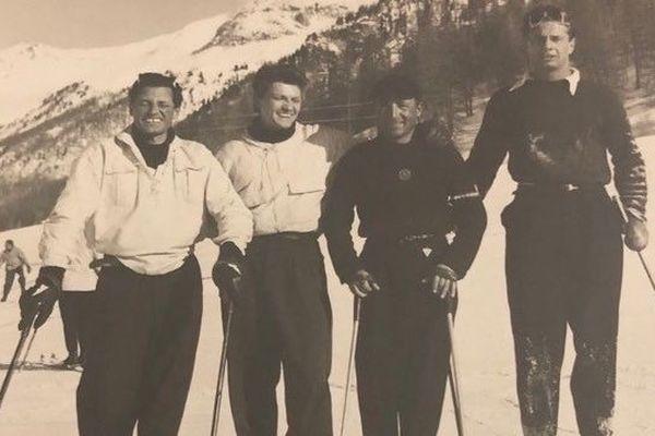 Jean Marais au ski à Megève, en 1960.