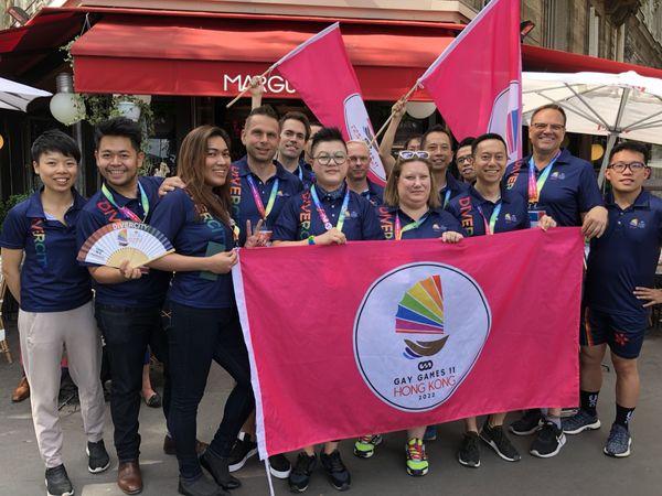 La délégation de Hong Kong 2022 est venue en force aux Gay Games Paris 2018.