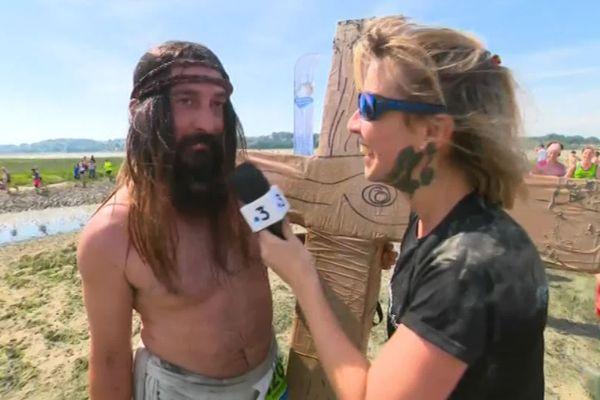 Christophe, alias Jésus, interviewé par notre journaliste Julie Poirier lors de la Transbaie 2019