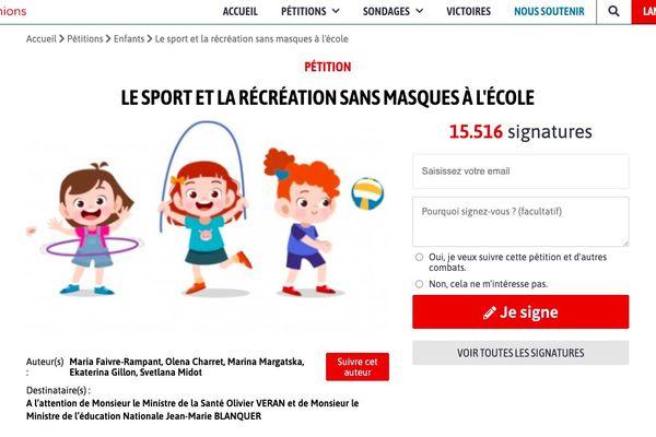 """Déjà plus de 15 000 signatures pour la pétition """"LE SPORT ET LA RÉCRÉATION SANS MASQUE À L'ÉCOLE"""""""