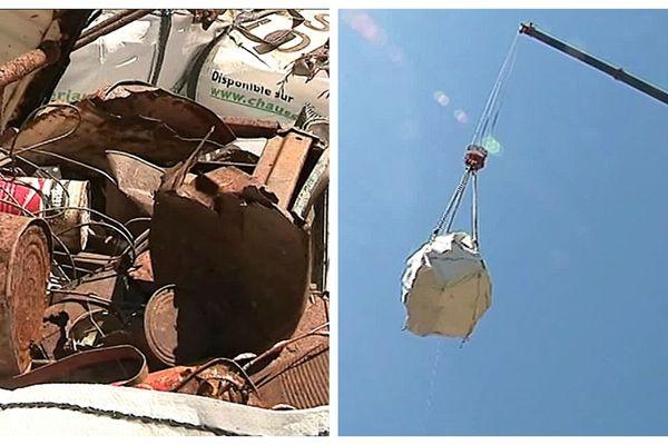 L'évacuation de la décharge sauvage située au niveau du ravin de l'Uscalde a nécessité l'utilisation d'une grue.