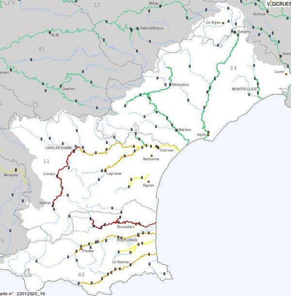 Alerte rouge à la crue pour l'Agly et la haute-Vallée de l'Aude - 22 janvier 2020.