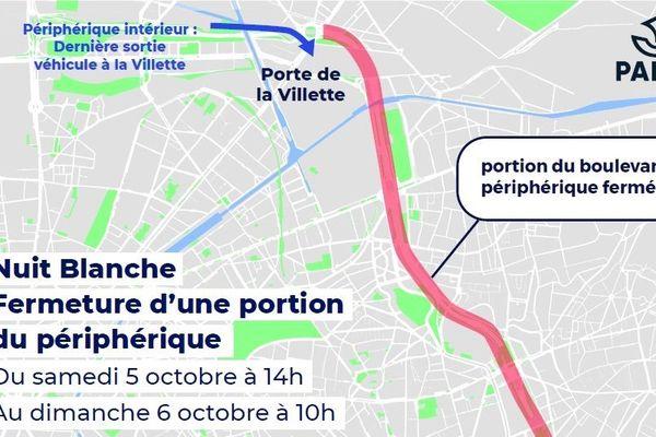 Le tronçon réservé aux cyclistes s'étend de la porte de Pantin à la porte de la Villette.