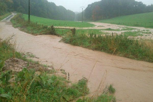 Une inondation entre Bacqueville-en-Caux et Auppegard au lieu dit du Mont Candon. Photo prise samedi.