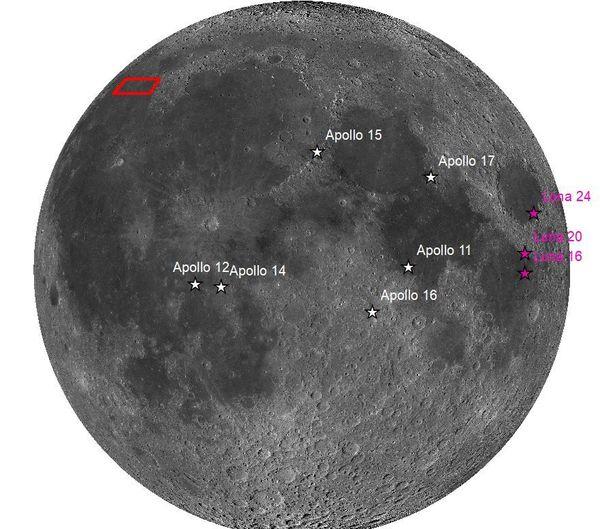 Les précédentes missions Apollo et Luna et en rouge la zone où se posera Chang'e5