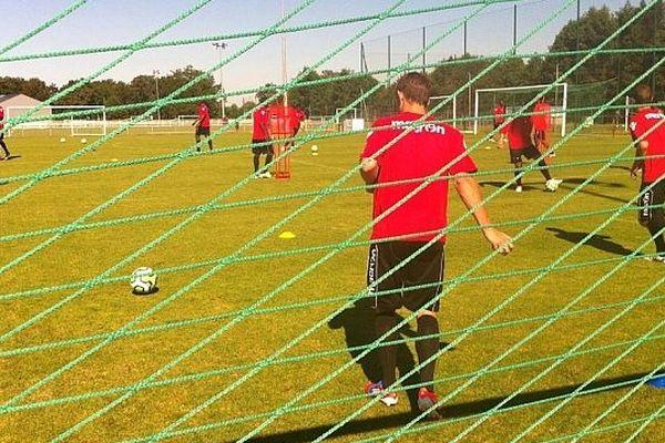 Les joueurs du Mans FC à l'entraînement ce lundi