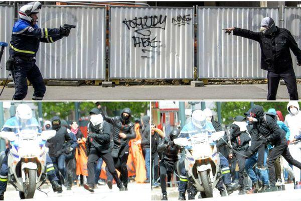 La photo du haut signée Martin Bertrand reprise par Libération. En dessous, les clichés postés par la police nationale, sur son compte twitter