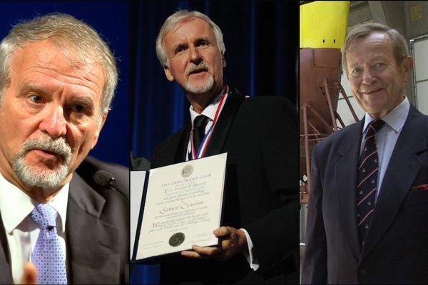 """De gauche à droite,  Paul-Henri Nargeolet, James Cameron, Philippe de Guillebon, trois des """"explorateurs des abysses"""" honorés par la Cité de la mer ce jeudi"""