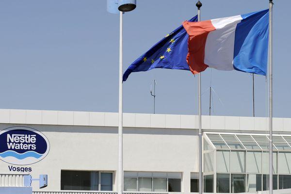 Extérieur de l'usine Nestlé Waters à Vittel (Vosges).