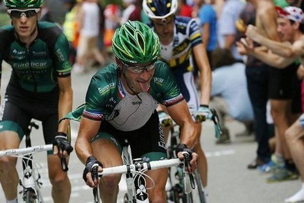 Le français Thomas Voeckler sera l'un des favoris de l'épreuve.Ascension de l'Alpes d'Huez le 18 juillet 2013.