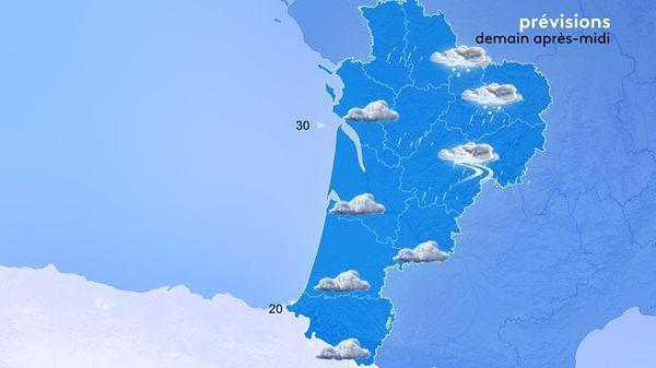 Les pluies arriveront en cours de journée par le nord mais au contact des hautes pressions, elles deviendront assez faibles.