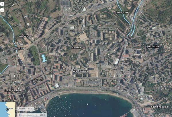 Le réseau hydrographique de la ville d'Ajaccio.