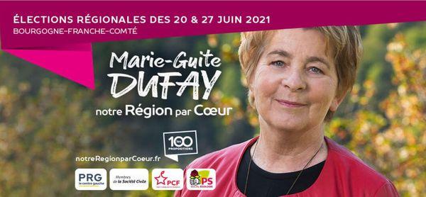 Capture d'écran du site internet de Marie-Guite Dufay le 17 mai 2021