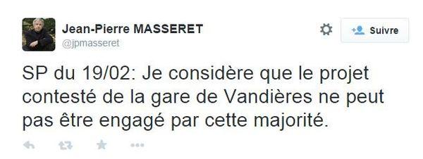 Le message de Jean-Pierre Masseret sur Twitter
