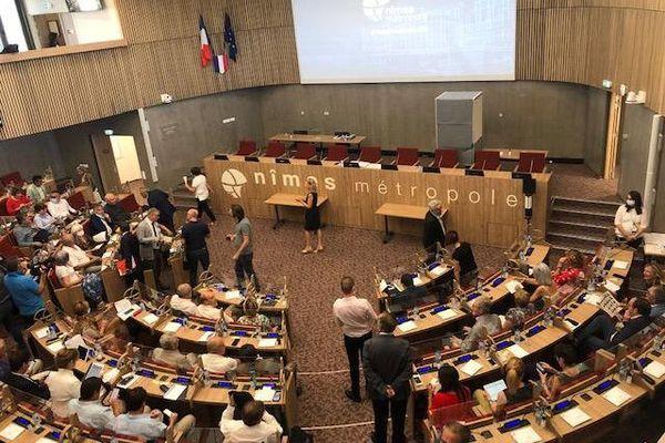 Nîmes - élection du nouveau président de Nîmes métropole, Franck Proust - 8 juillet 2020.