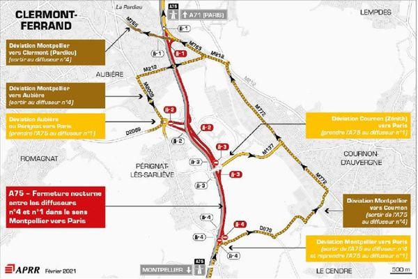 La circulation sera déviée sur l'A75 la nuit du 9 février près de Clermont-Ferrand.