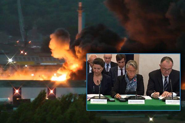 Trois ministres à Rouen  le 11 octobre 2019 pour évoquer les conséquences de l'incendie de l'usine chimique Lubrizol