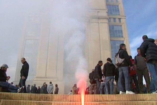 Montpellier : manifestation des cheminots devant le conseil régional du Languedoc-Roussillon - 22 novembre 2012.