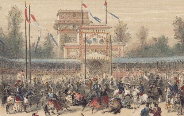 Lithographie peinte au milieu du 19e siècle par A. Provost et représentant la rencontre du Camp du Drap d'Or.