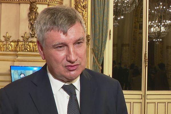 Christophe Guilloteau, président LR sortant du département du Rhône (27/6/21), après l'annonce de la victoire de la droite dans le Rhône. La droite et le centre remporte tous les cantons sauf celui de L'Arbresle, décroché par un binôme LREM.