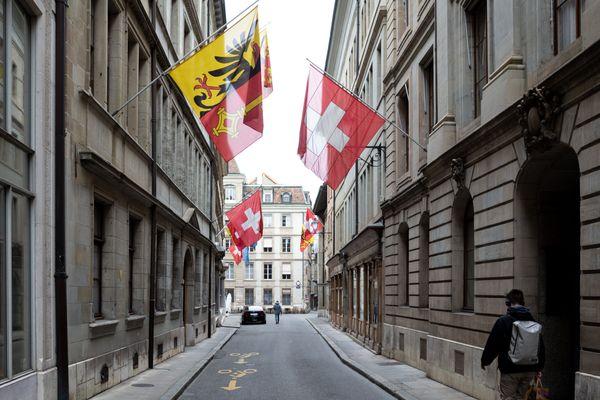 Les rues de Genève presque vides