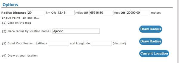 Sur Freemaptools, il faut renseigner la distance précise du cercle qu'on veut voir dessiné autour de notre adresse. Ici, 20km autour d'Ajaccio.