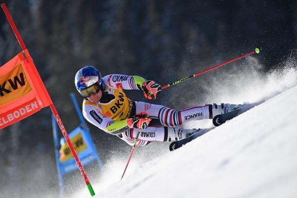 Alexis Pinturault lors de la première manche du géant d'Adelboden (Suisse) vendredi 8 janvier.