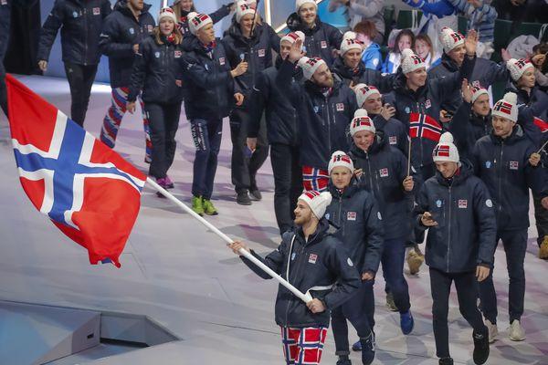 La délégation norvégienne aux JO d'hiver de mars 2018, en Russie.