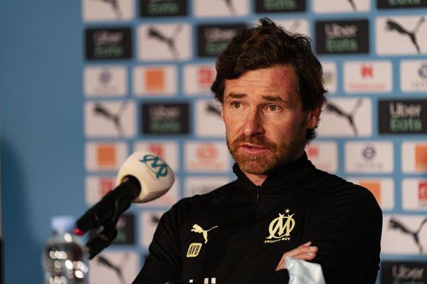 L'entraîneur de l'OM, André Villas-Boas lors de la conférence de presse du jour à la commanderie. Il a annoncé avoir proposé sa démission à la direction du club.