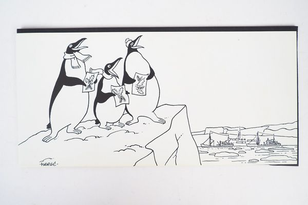 Greeting card for the 1957-1958 Antarctic expedition drawn by Hergé, estimate € 600/700.