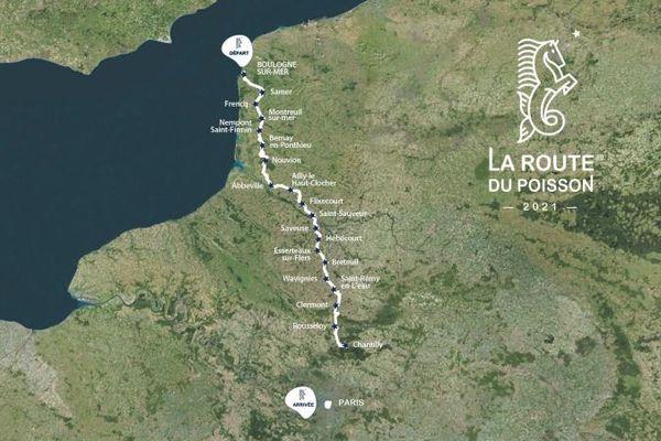 Tracé de l'édition 2021 de la Route du Poisson, depuis Boulogne-sur-Mer jusque Paris.