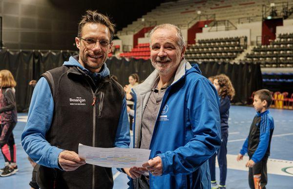 A gauche: Yohann Carvey en charge de l'animation sportive Ville de Besançon et à droite: Boris Bapicot Directeur du comité régional olympique et sportif de Bourgogne Franche -Comté