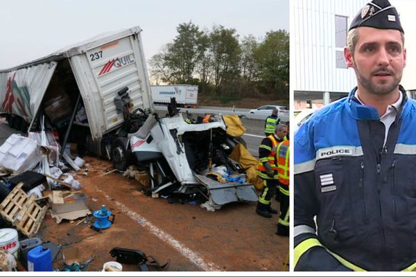 L'accident de mercredi 10 octobre au matin qui a donné lieu à une quarantaine de verbalisation pour usage de téléphone portable. A gauche, le capitaine Xavier Nicolas, chef des unités spéciales du commissariat de Mulhouse.