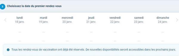 Comme le montre cette capture d'écran, il est impossible de prendre de nouveaux rendez-vous sur le site de Santé.fr