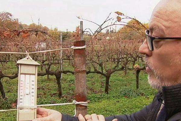 Michel Issaly, vigneron, surveille la température de près